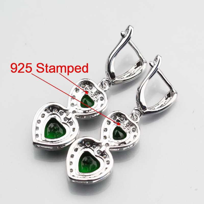 สง่างามสีเขียวสร้างมรกต4ชิ้นแหวนขนาด6 #7 #8 #9 #10 #925เงินสเตอร์ลิงน้ำหยดชุดเครื่องประดับฟรีกล่องของขวัญW341