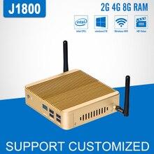 Мини-ПК Intel Celeron J1800 dual core Безвентиляторный Win 10 Linux микро мини настольный компьютер бытовой офис и игровой тонкий клиент