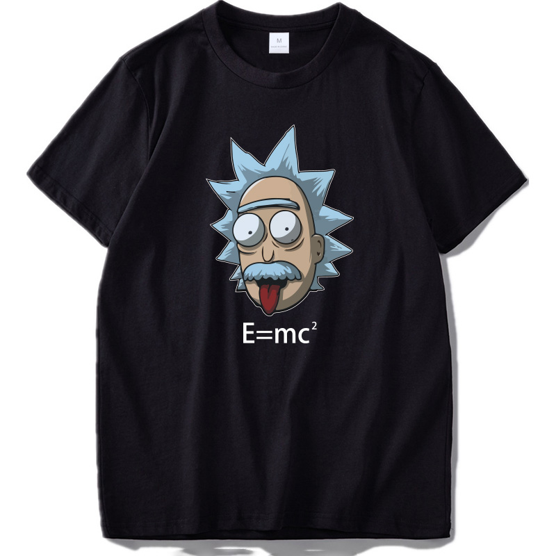 Rick and Morty   T  -  shirt   Funny Geek Style   T     Shirt   Men E=MC2 Printed High Quality Cotton Short Sleeve Einstein Tee Tops