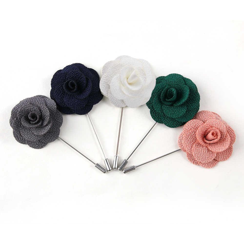 ホット手作りの花のブローチピンバッジ生地椿の花のラペルのためのシャツの襟の男性のスーツ結婚式ブートニア