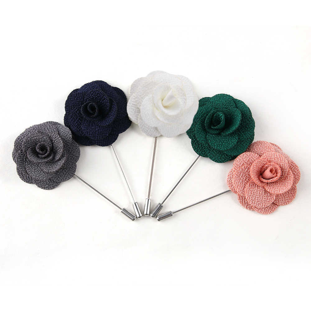 1Pc 高品質椿の花ラペルピンブローチ手作り花のブローチ男性ファッション結婚式ブートニア