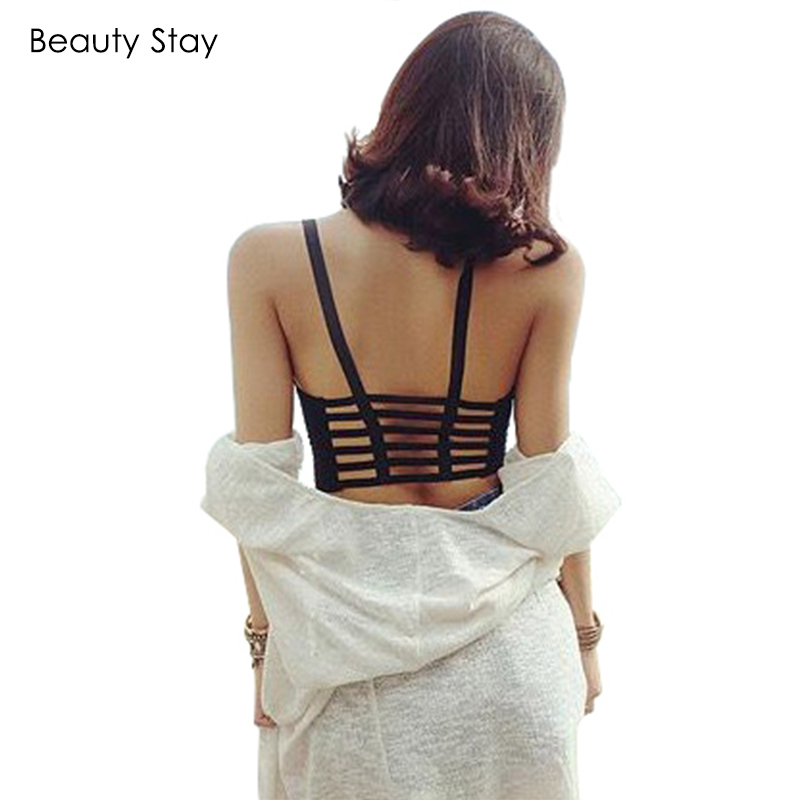 BeautyStay Sexy Backless Hollow Out Women Beach Tank Tops Summer Cut Out Strap Crop Tops Wrap Chest Padded Bra Bustier Vest