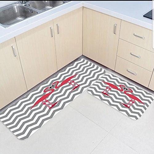 Ensemble 2 pièces tapis et tapis de cuisine Chevron gris et blanc Zigzag flamant rose Home Deocr zone antidérapante tapis de porte tapis