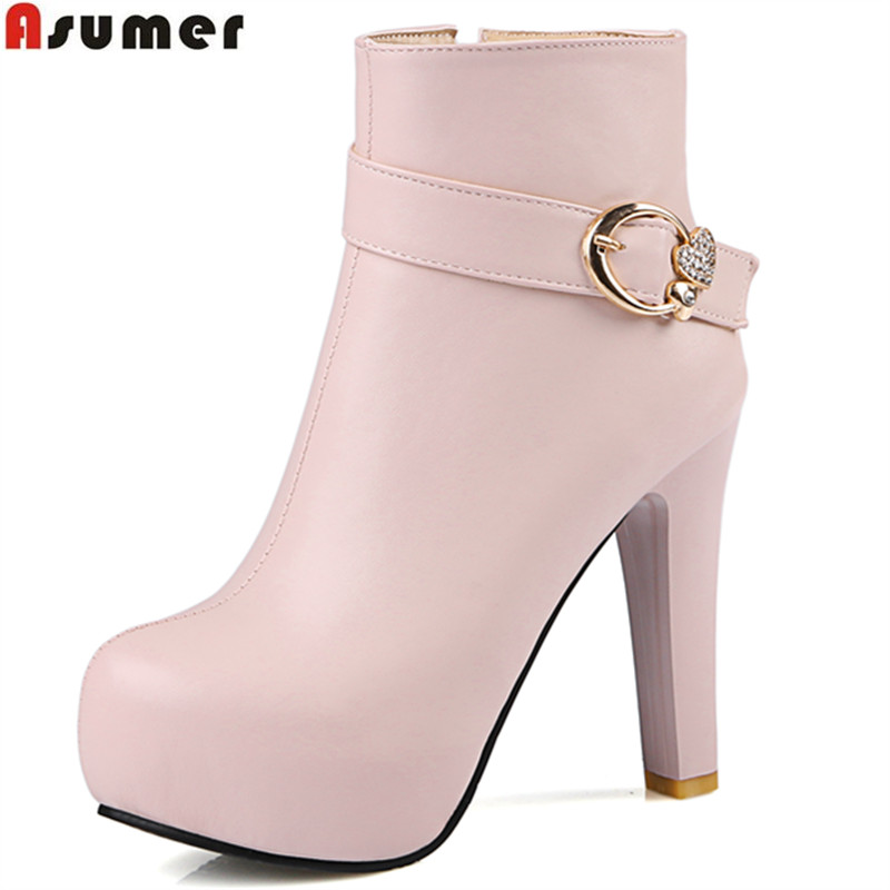 ASUMER 2018 hot sale new arrive women boots fashion autumn winter ladies boots super high solid color ankle boots platform 2017 hot sale cheapest custom warning bopp fragile tape used for warning and packing