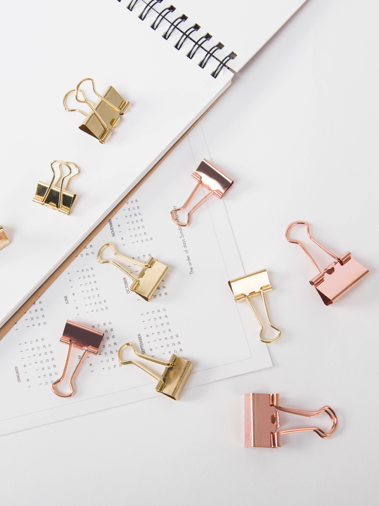 Rose Gold Clipins Cute Folder Paper Clamp Ticket Clamp Small Fresh Office Binder Clip Binder Clips Metal Clips Gold Binder Clips