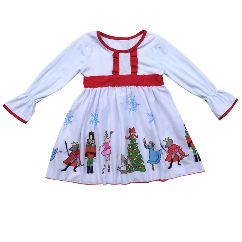Christmas baby girl classic dress nutcracker dress white high quality cotton kids dress hot sale wholesale christmas angel girl dress girls high quality boutique baby girl cotton dress