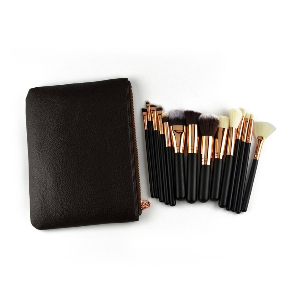15PCSSET Cosmetic Makeup Brushes Set Professional Wooden Handle Eyeshadow Eyeliner Lip Make up Brush Tool Kit