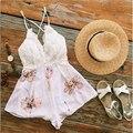 Одежда Sexy глубокий v шея белые кружева элегантный комбинезон комбинезон Летние пляжные короткие playsuit Женщин boho guaze комбинезоны