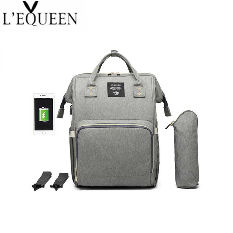 HTB1fYBwPjTpK1RjSZKPq6y3UpXau Lequeen USB Mummy Maternity Nappy Bag Brand Large Capacity Baby Bag Travel Backpack Designer Nursing Bag for Baby Care
