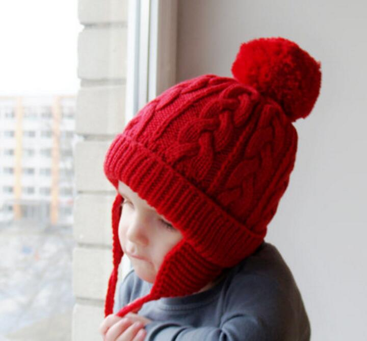 New Winter Children Hat With Hair Ball Protection Ear Cap Girls And Boys Warm Wool Knitting Hats gift children knitting wool hat cute keep warm rabbit beanie cap autumn and winter hat with earflaps whcn