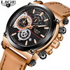 LIGE Mens Watches Top Brand Luxury Quartz Gold Watch Men Casual Leather Military Waterproof Sport Wrist