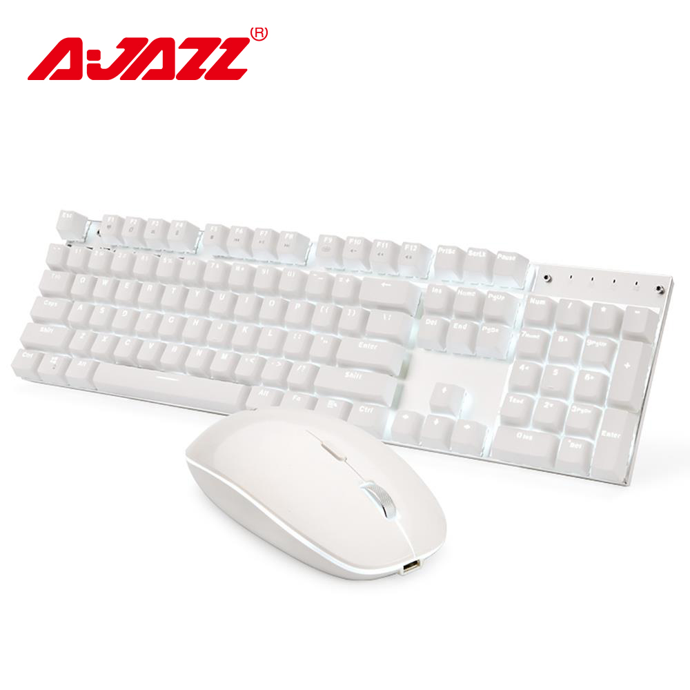 Ajazz A3008 2 4G Wireless Mechanical Keyboard Mouse Combos White Backlit Blue Switches Gaming Keyboard Mouse