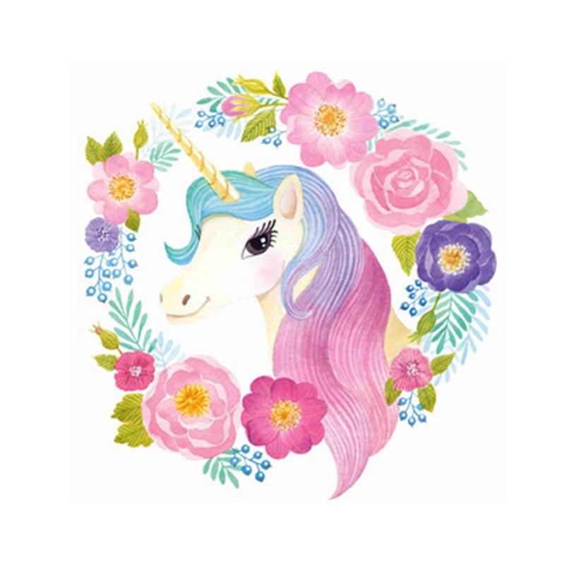 Cartoon Flower Unicorn Wall Stickers For Kids Room Wallpaper Vinyl Home Wall Decals Kids Living Room