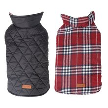 Двусторонняя клетчатая куртка для собак в британском стиле, GOPAW, водоотталкивающая стеганая зимняя одежда для домашних животных