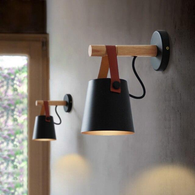 LED קיר אור עץ מנורת קיר מיטת המיטה אור לילה אורות מודרני נורדי אהיל בית תפאורה לבן & שחור חגורה e27 85-265 V