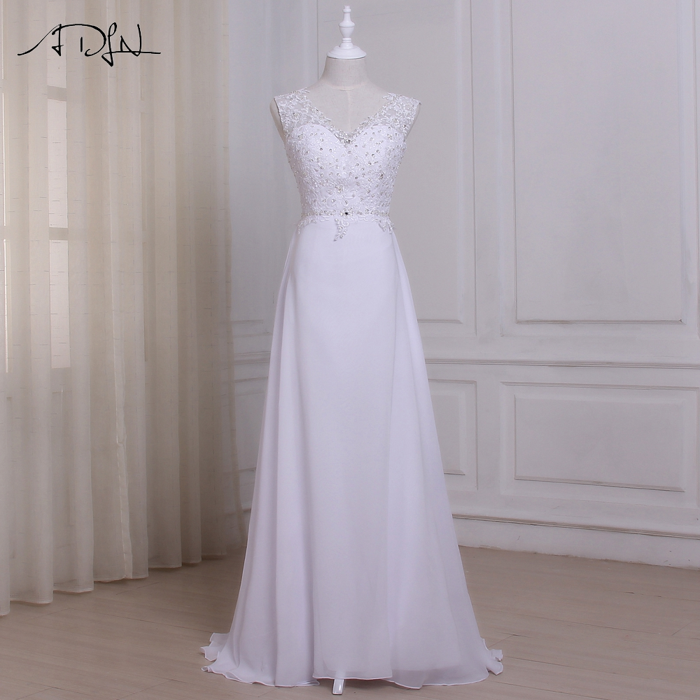 ADLN Murah Pantai Wedding Dress Plus Ukuran Vestido De Novia Bride Dresses Chiffon Beaded Disesuaikan Jubah De Mariage
