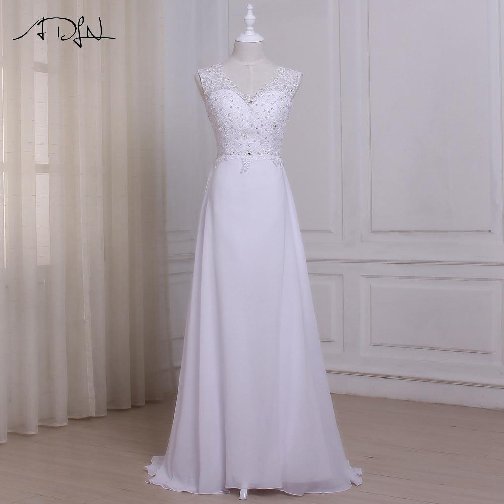 ADLN Φτηνές νυφικό φόρεμα παραλία Plus μέγεθος Vestido De Novia νυφικά Φορέματα Chiffon Beaded Προσαρμοσμένο Robe De Mariage