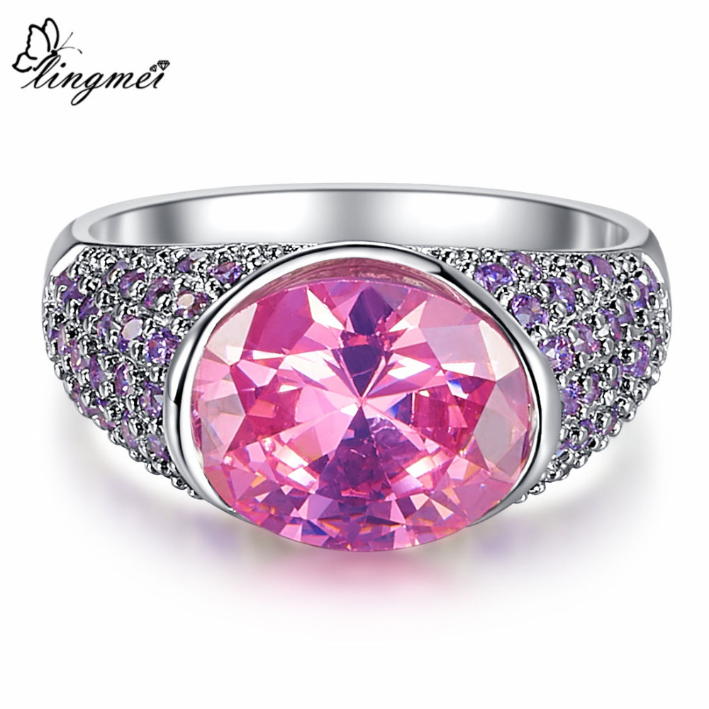Lingmei deslumbrante boda Amuletos rosa púrpura Arco Iris Mystic ...