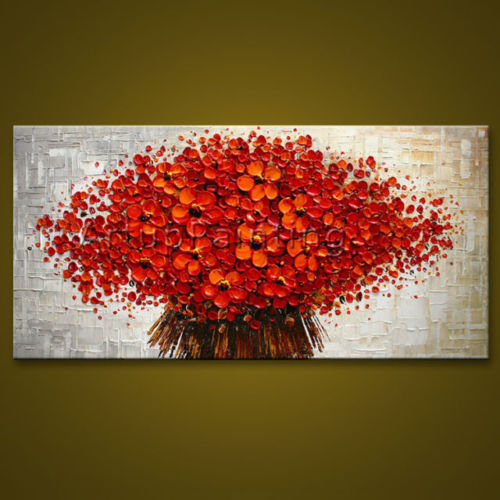 Modern Abstract Flower Canvas Wall Art hand Painted Oil Painting RED FLOWERS(No Frame)Modern Abstract Flower Canvas Wall Art hand Painted Oil Painting RED FLOWERS(No Frame)