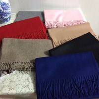 100 Cashmere Thick Blue Black Camel Gray Scarf Women Men Spring Winter Natural Fabric Extra Soft