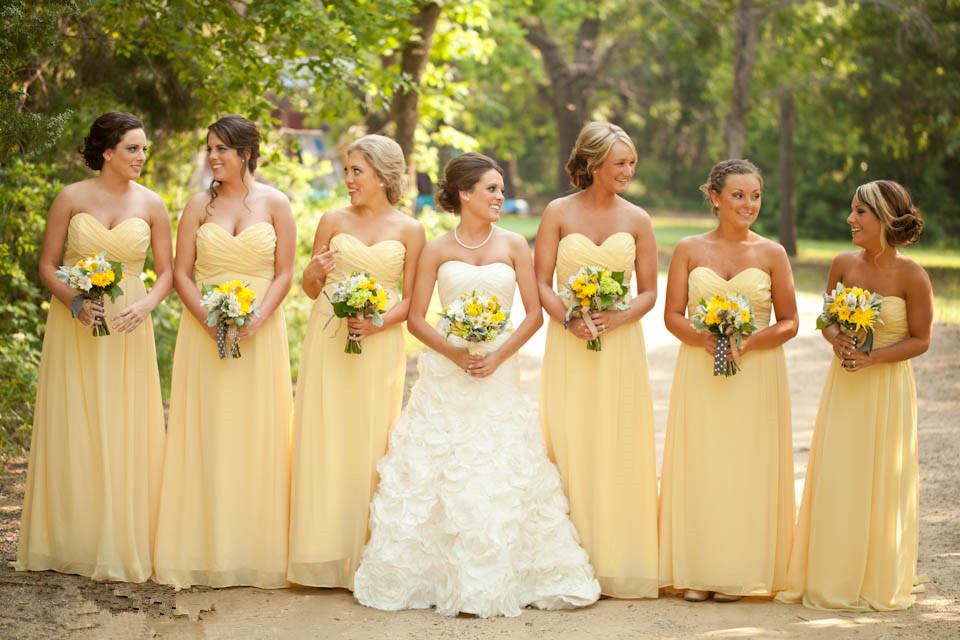 Light Yellow Cheap Long Bridesmaid Dresses A Line Chiffon