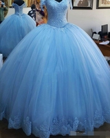Light Blue Ball Gown Princess Quinceanera Dresses Cap Sleeve Appliques 2019 Lace up Back Prom Dresses Sweet 16