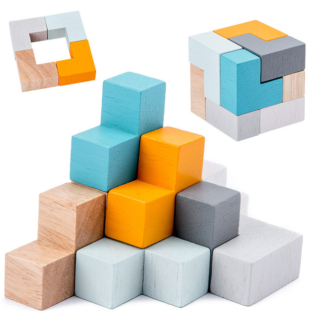 Wooden magic cube puzzle building block Domino in Iron box Educational baby for Travel Children toy story toy 1