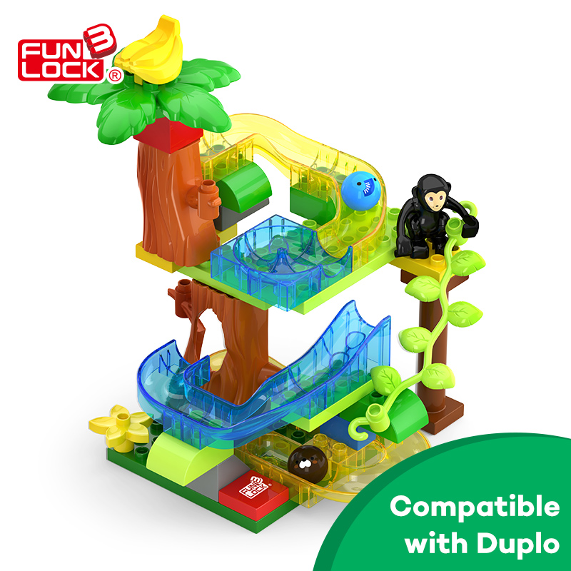 Funlock Duplo 39 pcs Toys Blocks Building Set Crystal Marble Run Jungle Educational Gift Bricks for Kids Children