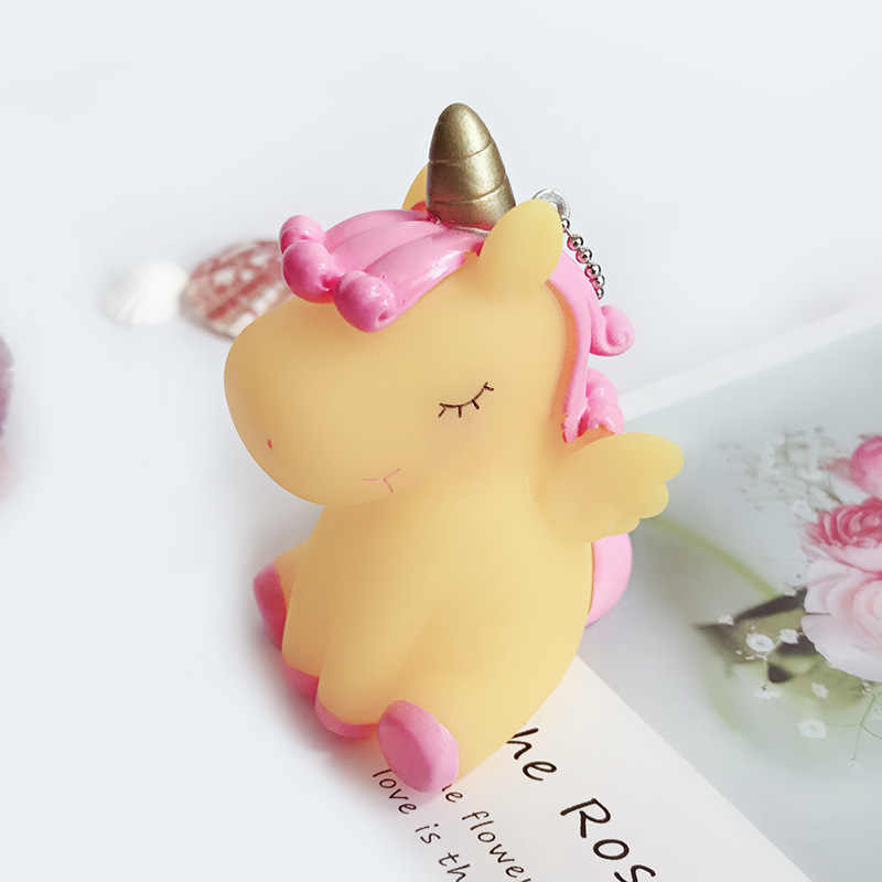 XIAOJINGLIG Hot Rainbow pcv zwierząt brelok do kluczy z jednorożcem dla kobiet mężczyzn ozdoba torby smycz na telefon lub klucze Porte klucz wiolinowy brelok dekoracja torby