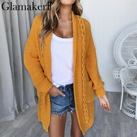 Glamaker Loose yellow knitted thick long cardigan Female coat grey summer sweater Women fitness cotton fashion casual jumper
