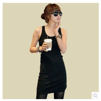 Free Shipping Ladies 2013 Summer Loose Plus Size Spaghetti Strap Tank Dress Basic Long Design Vest