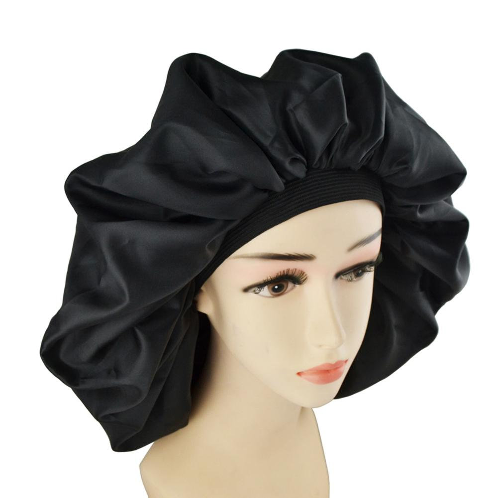 1pcs Wide Band Bonnet Hair Cap Extra Large Soft Sleep Cap Waterproof Shower Cap Women Hair Treatment Protect Hair From Frizzing