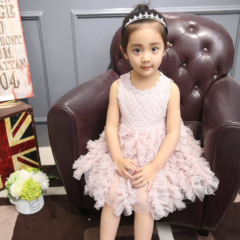 FYH Kids Clothing Girls Dress Girls Princess Dress Kids Elegant Lace Fashion Ball Gown Toddle Girls Sleeveless Summer Dress Cute
