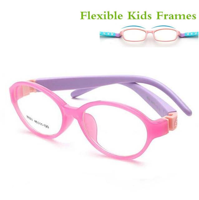 989ad57186 2017 Bendable Round Light Child Glasses frame kids frames eyewear Flexible  TR rubber optical lense No