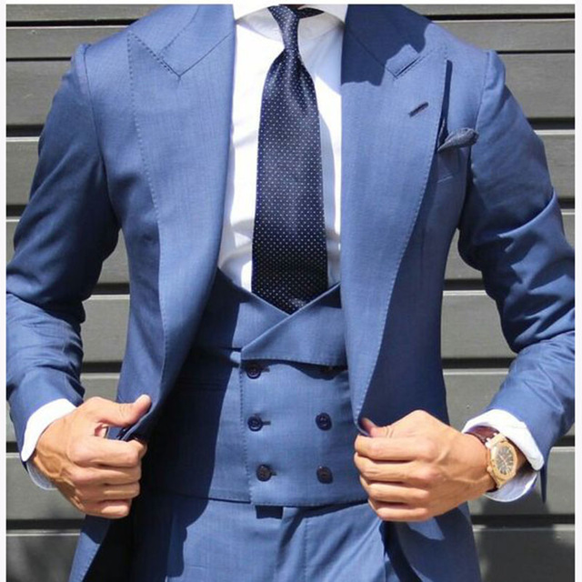 2019 New Blue Mens Double Breasted Suits Custom Made Mens Skinny Tuxedo Wedding Business Suits 3 Pieces Set Jacket Pant Vest