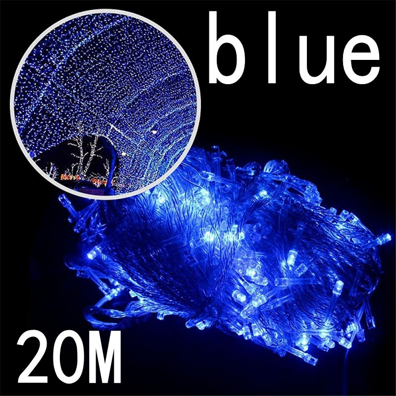 New blue color 20M 200 LED Fairy String Lights 220V Waterproof holiday led lighting Christmas/Wedding/Party Decoration Lights