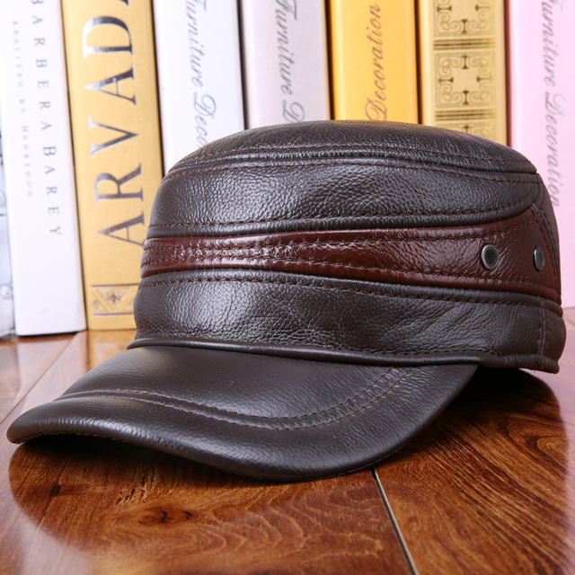 e7a3a922f61 Genuine Leather Flat Peak Baseball Cap Hip Hop Hats men s caps winter warm  protect the ear
