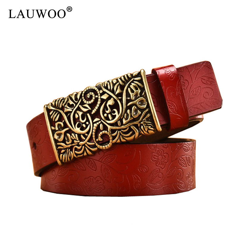 LAUWOO Genuine Cowskin Leather Belts For Women Carved Design Retro Metal Women Strap Cintos Ceinture Female High Quality Belts