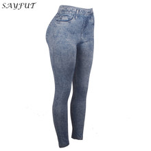 97403263cf037 (Ship from US) SAYFUT NEW Sexy Women Blue Imitation Jeans Trouser Jeggings  Stretch Slim Workout Leggings Fashion Skinny Pants