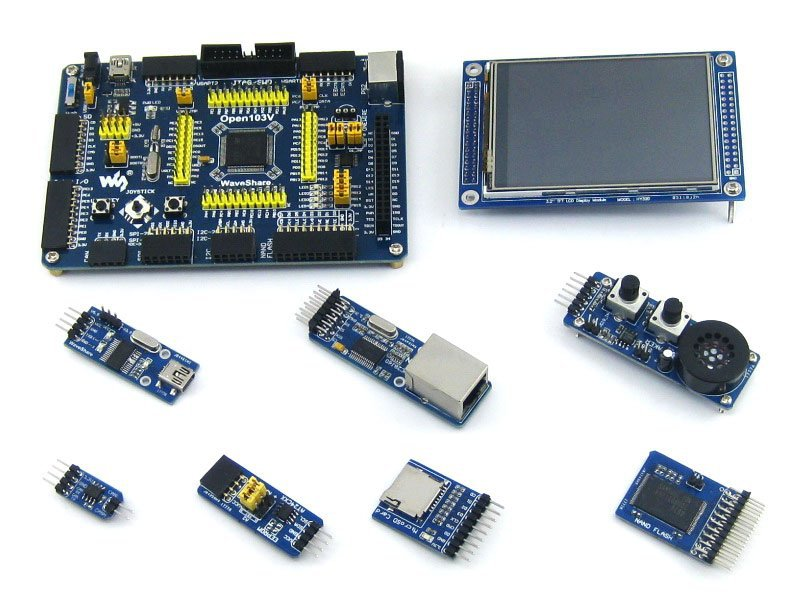 STM32 Board STM32F103VET6 STM32F103 ARM Cortex-M3 STM32 Development Board + 7 Accessory Module Kit =Open103V Package A sim868 development board module gsm gprs bluetooth gps beidou location 51 stm32 program