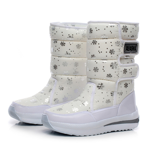 2016 mujeres impermeable botas de nieve copo de nieve de algodón súper calientes zapatos de plataforma de invierno botines de las mujeres