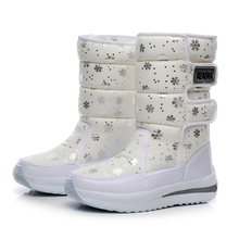 2016 women waterproof  snow boots snowflake cotton super warm shoes women's winter platform ankle boots