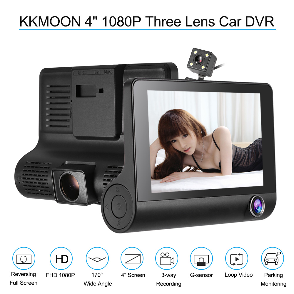 KKMOON Three-Lens Car-Dvr Camcorder Camera Dash-Cam 1080P 4-Motion-Detection/loop-Recording