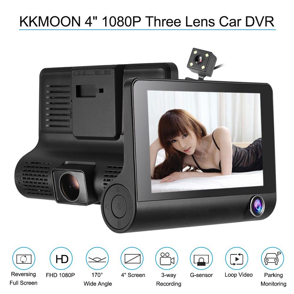 Kkmoon 4 1080 p tres lente del coche DVR Dash CAM videocámara de la Cámara visión nocturna/g-sensor/ detección de movimiento/Loop recording