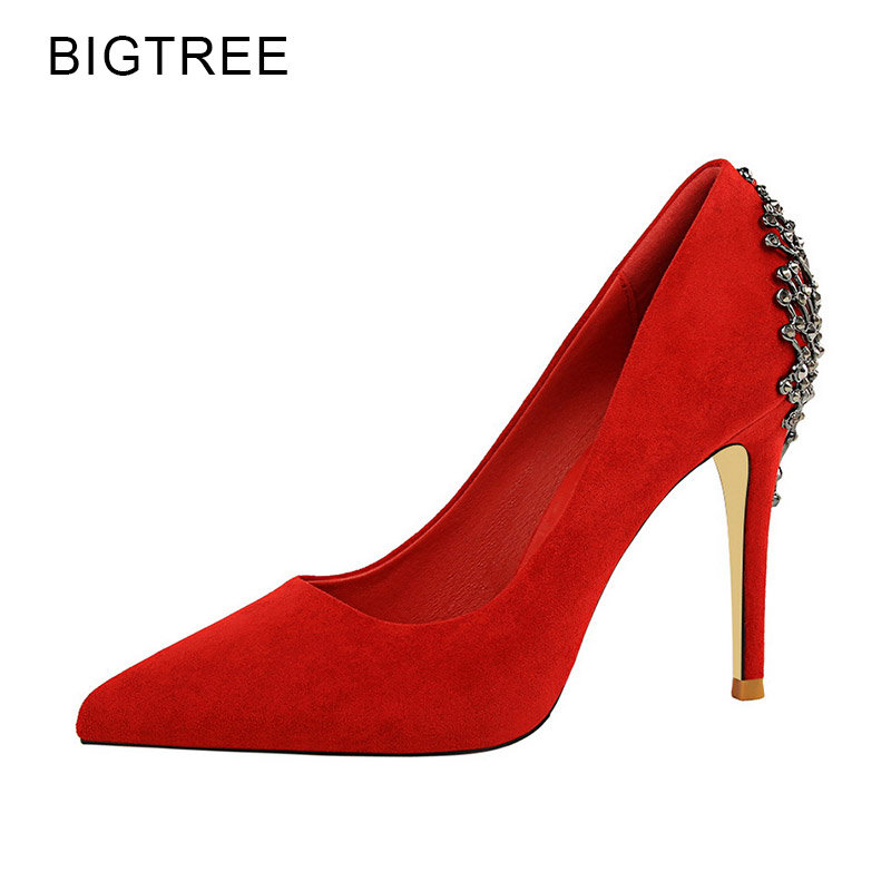 a6afcdbd4f03 BigTree Women Shoes High Heels Red Sexy Party Shoes Pointed Toe Thin Heels  Flock Metal Decoration 2018 Spring New Size 34-39