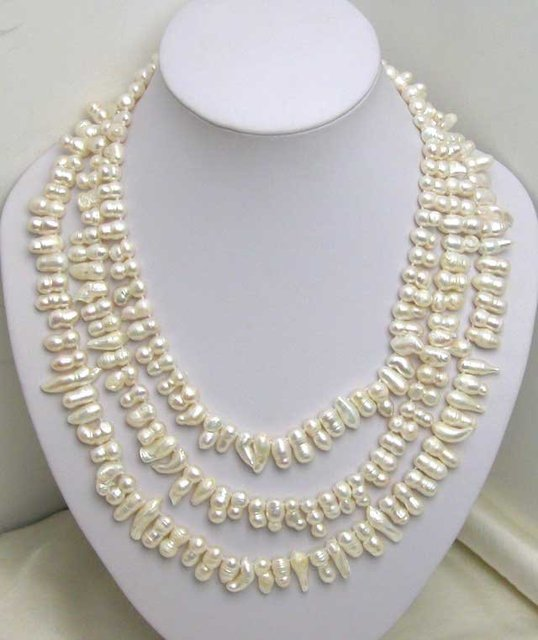 SALE 3 STRANDS 7-8MM NATURAL WHITE Grotesque Pearl NECKLACE WITH big shell flower clasp-5163 Wholesale/retail Free shipping
