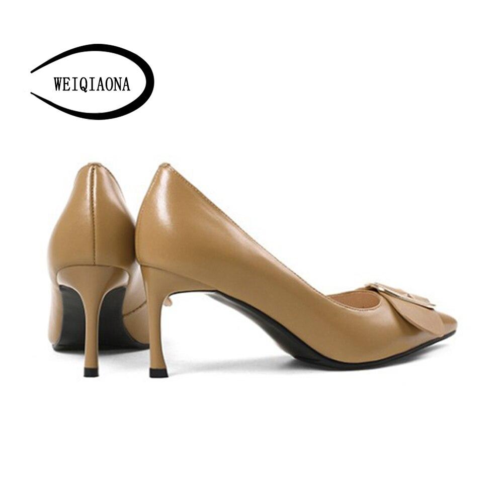 En Peu Pointu Pompes Femals apricot Doux Weiqiaona Femmes Noir Profonde Mode Stiletto Talons Hauts Chaussures Véritable Cuir Orteils Bowknot q0RfE