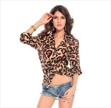 цена на 10pcs/lot Sexy Night Pub Leopard Chiffon Blouse Long Sleeves V-neck Design Ladies Ballroom Costume PL25138