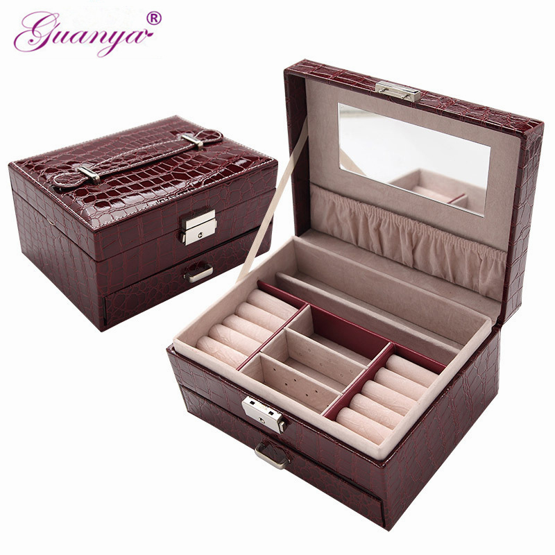 Guanya travel Portable Jewelry Organizer box leather Earring Ring collection carrying case princess dressing birthday giftGuanya travel Portable Jewelry Organizer box leather Earring Ring collection carrying case princess dressing birthday gift