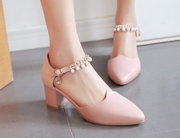 Da Elegante G61658 Grosso Sposa Pompe Caviglia white Black Cinghia Donne Donna Della Partito Zapatos pink Mujer Tacchi Scarpe Signore Ragazze Alti Delle 8xqZdw8t